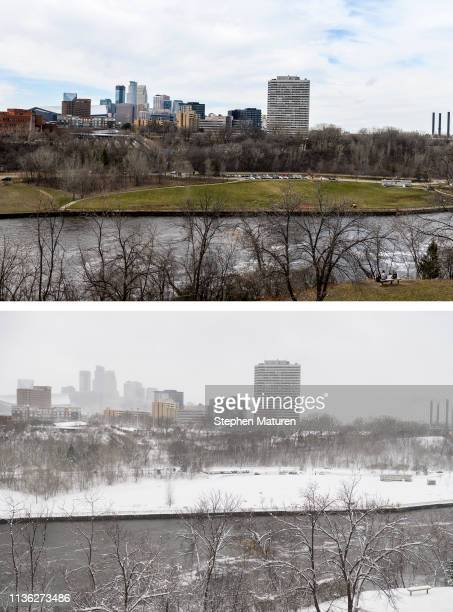 A general view of downtown Minneapolis and the Mississippi River on April 9 2019 in Minneapolis Minnesota Bottom Photo A general view of downtown...