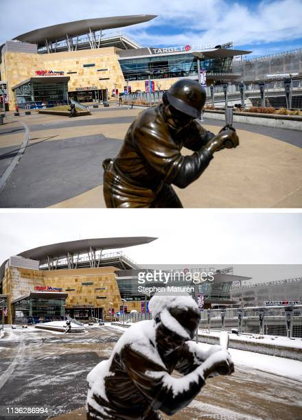 A general view outside Target Field on April 9 2019 in Minneapolis Minnesota Bottom Photo A general view outside Target Field on April 11 2019 in...