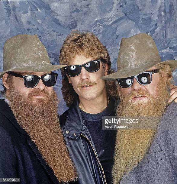 ZZ Top posing for a photo in Texas for Rolling Stone Magazine in 1997