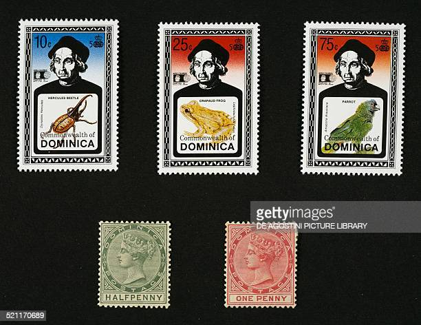Top postage stamps from the series commemorating the 500th anniversary year of the discovery of America depicting Christopher Columbus and Hercules...