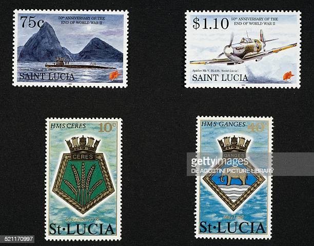 Top postage stamps from the series commemorating the 50th anniversary of the end of the Second World War depicting the German Uboats in the vicinity...