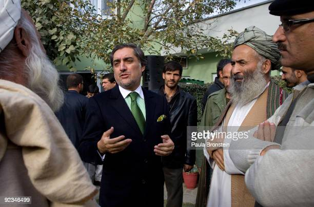Top presidential challenger Abdullah Abdullah speaks to supporters after a press conference at his home October 26 2009 in Kabul Afghanistan Abdullah...