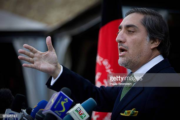 Top presidential challenger Abdullah Abdullah speaks to the media during a press conference inside his home October 26 2009 in Kabul Afghanistan...
