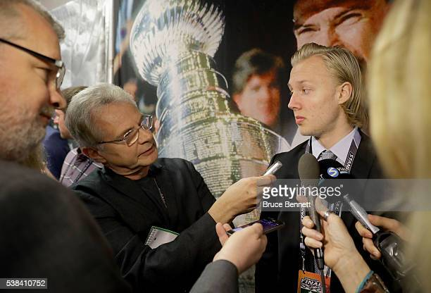 Top Prospect Alexander Nylander speaks during media availability for the 2016 NHL Draft Top Prospects prior to Game Four of the 2016 NHL Stanley Cup...