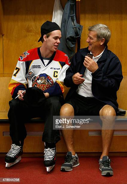 Top prospect Connor McDavid speaks with hockey great Bobby Orr in the locker room before the Top Prospects Clinic as part of the 2015 NHL Entry Draft...