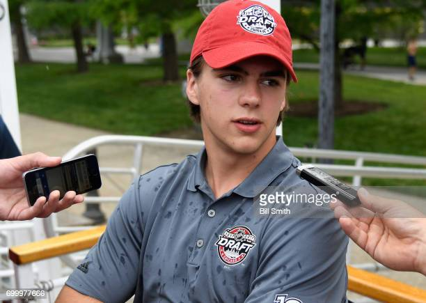 Top prospect Nico Hischier talks with members of the media during the 2017 NHL Draft top prospects media availabilty on the Bright Star Boat on the...