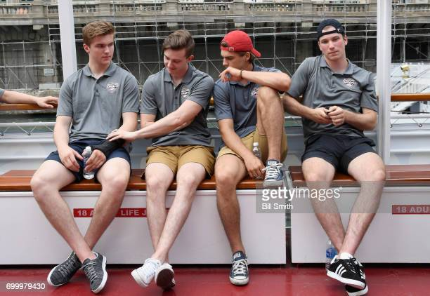 Top prospects Michael Rasmussen Cody Glass Nico Hischier and Nolan Patrick attend the 2017 NHL Draft top prospects media availabilty on the Bright...