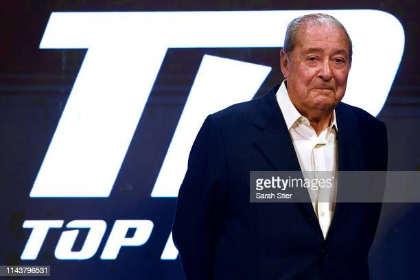 Top Rank boxing founder Bob Arum looks on during the weighin for welterweight fighters Terence Crawford and Amir Khan of the United Kingdom at...