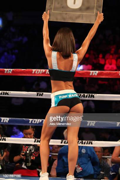 Top Rank ring girl is seen during the Regis Prograis v Juan Jose Velasco ESPN boxing match at the UNO Lakefront Arena on July 14 2018 in New Orleans...