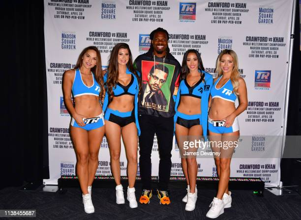 Top Rank ring girls and Kevin White attend Top Rank VIP party prior to the WBO welterweight title fight between Terence Crawford and Amir Khan at...