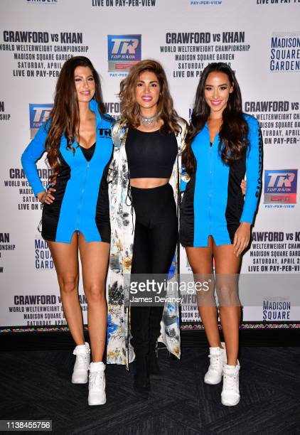 Top Rank ring girls and Kristine Stokes attend Top Rank VIP party prior to the WBO welterweight title fight between Terence Crawford and Amir Khan at...