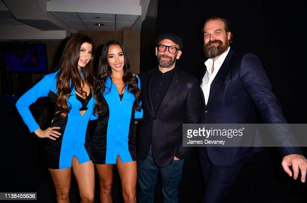 Top Rank ring girls guest and David Harbour attend Top Rank VIP party prior to the WBO welterweight title fight between Terence Crawford and Amir...