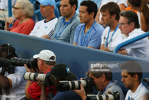 Top right Jimmy Connors coaches Maria Sharapova of Russia as she plays Sloane Stephens during the Western Southern Open on August 13 2013 at Lindner...