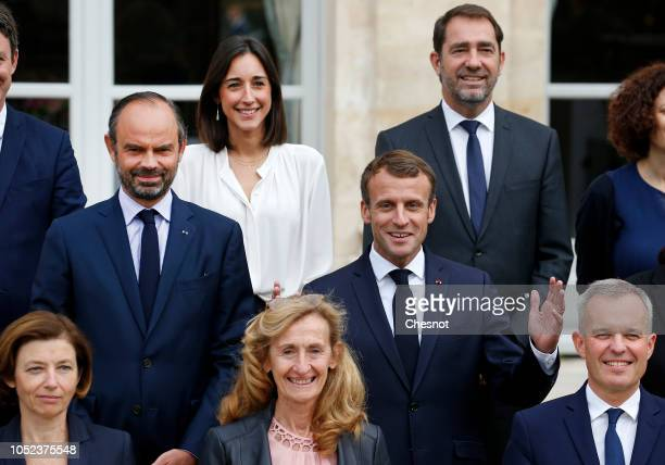 Top Row French Junior Minister attached to the Minister of Ecological and Inclusive Transition Brune Poirson French Interior Minister Christophe...