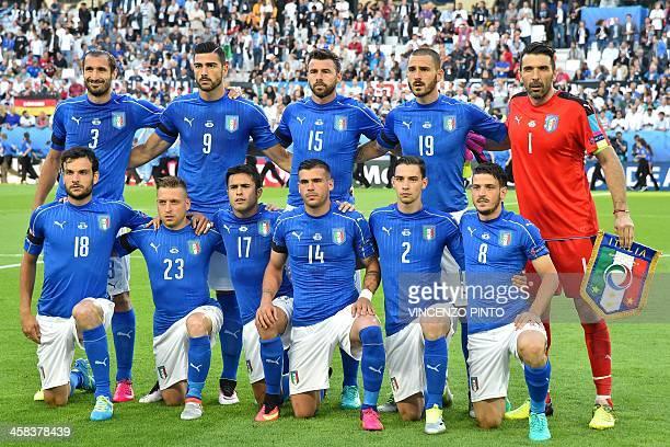 Italy's defender Giorgio Chiellini Italy's forward Pelle Italy's defender Andrea Barzagli Italy's defender Leonardo Bonucci Italy's goalkeeper...