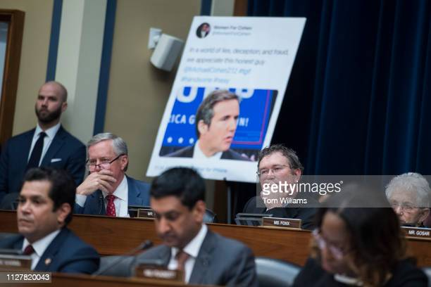 Top row from left Reps Mark Meadows RNC Thomas Massie RKy and Virginia Foxx RNC are seen during a House Oversight and Reform Committee hearing in...