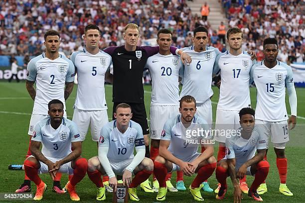 Top row from leftL England's defender Kyle Walker England's defender Gary Cahill England's goalkeeper Joe Hart England's midfielder Dele Alli...