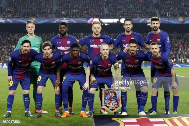 top row goalkeeper MarcAndre ter Stegen of FC Barcelona Samuel Umtiti of FC Barcelona Ivan Rakitic of FC Barcelona Sergio Busquets of FC Barcelona...