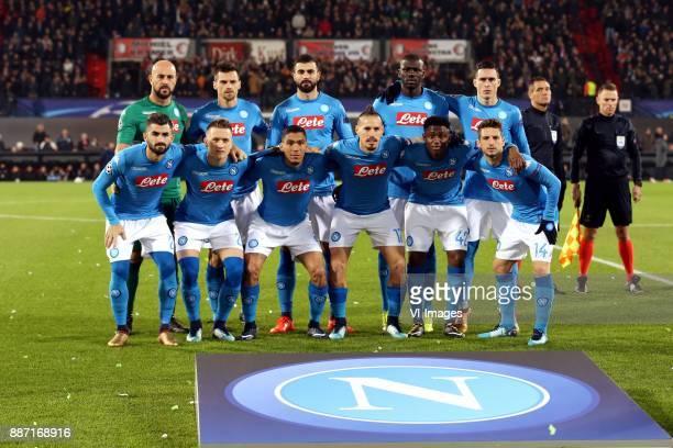 top row goalkeeper Pepe Reina of SSC Napoli Christian Maggio of SSC Napoli Raul Albiol of SSC Napoli Kalidou Koulibaly of SSC Napoli Jose Callejon of...