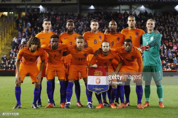 top row Karim Rekik of Holland Timothy FosuMensah of Holland Kevin Strootman of Holland Ryan Babel of Holland Virgil van Dijk of Holland goalkeeper...