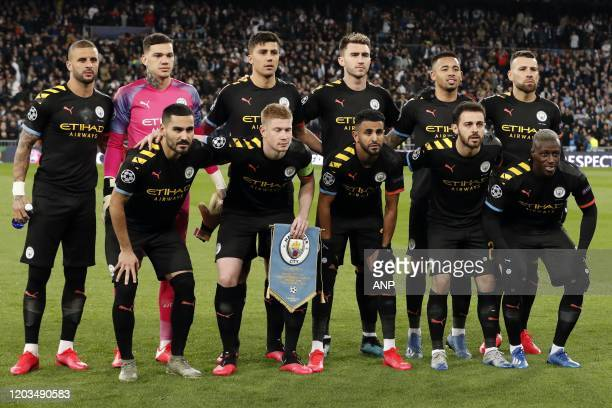 Top row Kyle Walker of Manchester City Manchester City goalkeeper Ederson Rodri of Manchester City Aymeric Laporte of Manchester City Gabriel Jesus...