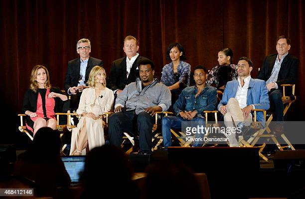 Top row left to right executive producers Mark Cullen and Robb Cullen cast members Meagan Good Amandla Stenberg Tim Bagley bottom row left to right...