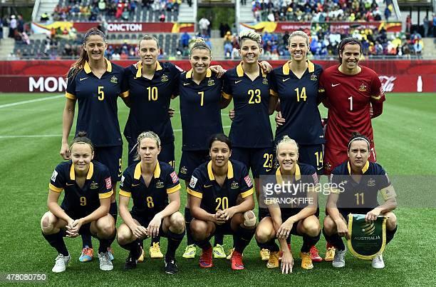 Australia's defender Laura Alleway midfielder Emily Van Egmond defender Steph Catley forward Michelle Heyman and goalkeeper Lydia Williams Bottom Row...
