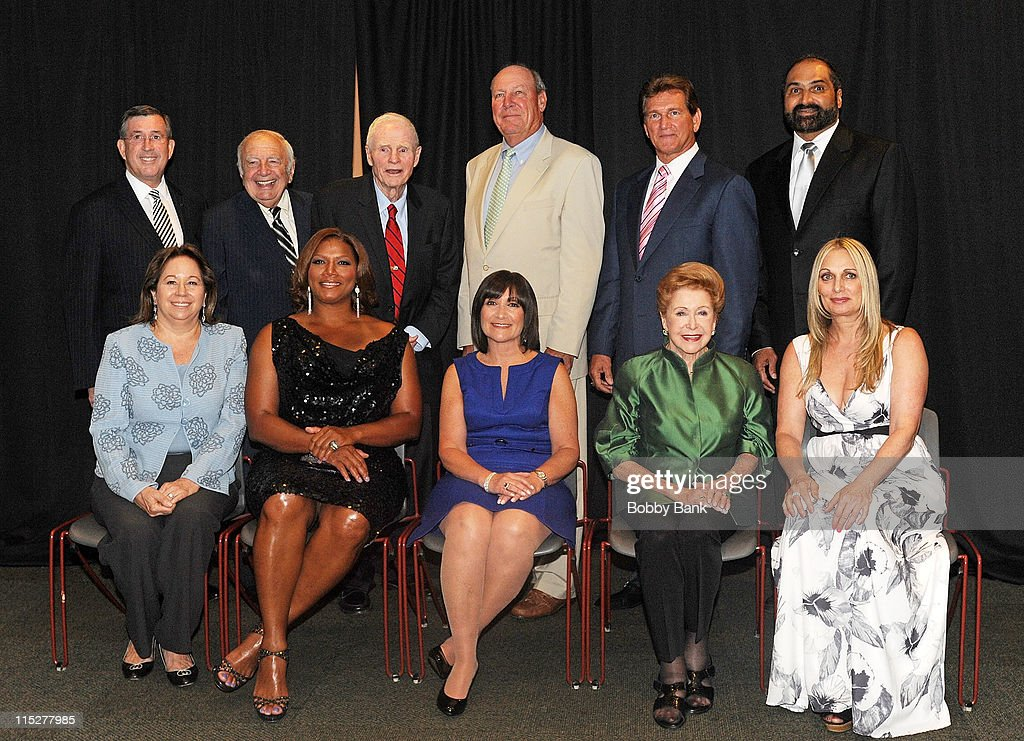 Top row L-R) Bucky Pizzarelli (2nd L), Brendan Byrne, guest, Joe Theismann, Franco Harris, (bottom row L-R) Connie Hess Williams, Queen Latifah, guest, and Mary Higgins Clark (2nd R) attends the 2011 New Jersey Hall of Fame Induction Ceremony at the New Jersey Performing Arts Center on June 5, 2011 in Newark, New Jersey.