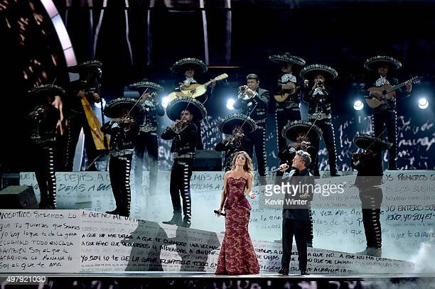 Top row Mariachi Sol De Mexico and Bottom row singers Paula Fernandes and Alejandro Sanz perform onstage during the 16th Latin GRAMMY Awards at the...