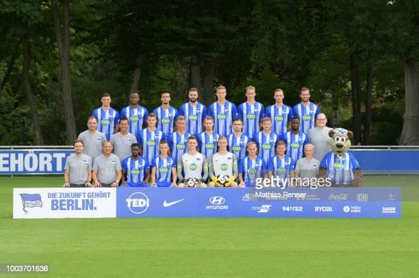 top row Nikos Zografakis Will Siakam Maurice Klehr Lukas Kraeft Anthony Roczen Florian Krebs Maximilian Storm Rico Morack of Hertha BSC U23 middle...