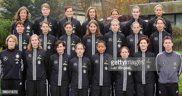 Top row physiotherapist Maiken Brinbaum, Heike Freese, Kathrin Laengert, Lena Goessling, Patricia Hanebeck, Simone Laudehr, Lydia Neumann. The middle...