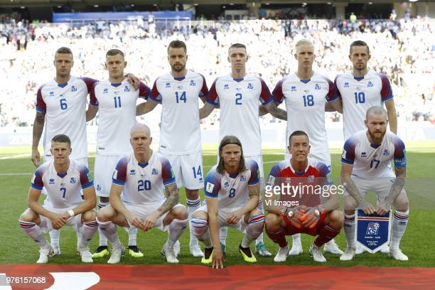 top row Ragnar Sigurdsson of Iceland Alfred Finnbogason of Iceland Kari Arnason of Iceland Birkir Mar Saevarsson of Iceland Hordur Magnusson of...
