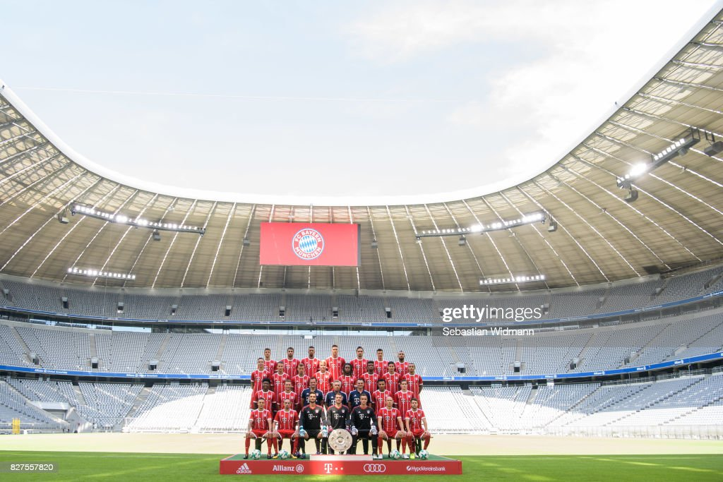 Top row (L-R) Thomas Mueller, Javier Martinez, Jerome Boateng, Niklas Suele, Mats Hummels, Robert Lewandowski, Arturo Vidal. Second row from top (L-R), Marco Friedl, Fabian Benko, Niklas Dorsch, Felix Goetze, Renato Sanches, Kingsley Coman, James Rodriguez, Thiago Alcantara. Second row from bottom (L-R) David Alaba, Joshua Kimmich, goalkeeping coach Toni Tapalovic, head coach Carlo Ancelotti, assistant coach Willy Sagnol, Corentin Tolisso, Sebastian Rudy. Front row (L-R) Rafinha, Franck Ribery, goalkeeper Sven Ulreich, goalkeeper Manuel Neuer, goalkeeper Christian Fruechtl, Arjen Robben, Juan Bernat of FC Bayern Muenchen pose during the team presentation at Allianz Arena on August 8, 2017 in Munich, Germany.