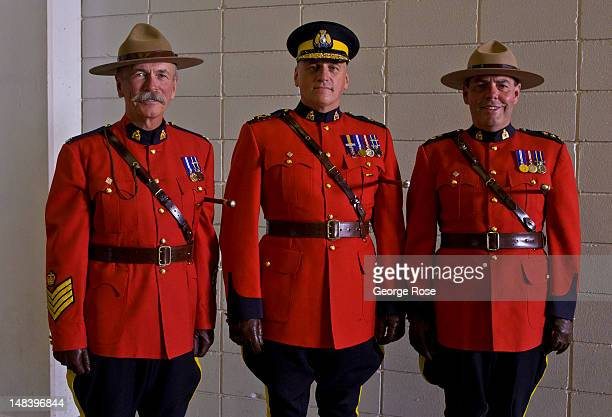 Top Royal Canadian Mounted Police officers pose for a picture under the rodeo grandstands on July 6 2012 in Calgary Canada Calgary Stampede the...
