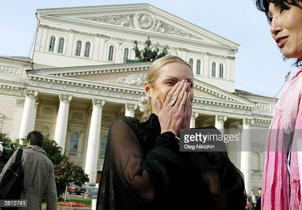 Top Russian ballerina Anastasia Volochkova stands in front of Bolshoi Theater September 19 2003 in Moscow Volochkova who danced in 'Swan Lake' and...