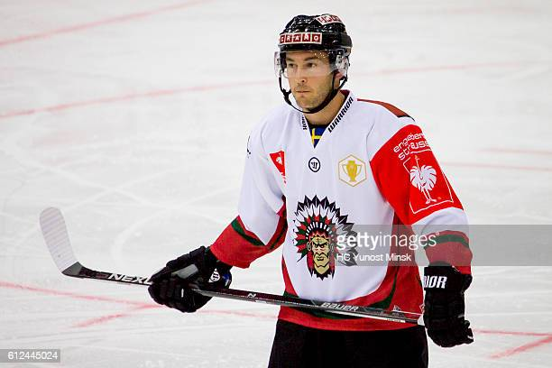 Top scorer of Frolunda Gotenburg Casey Wellman during the 3rd period of Champions Hockey League Round of 32 match between Yunost Minsk and Frolunda...
