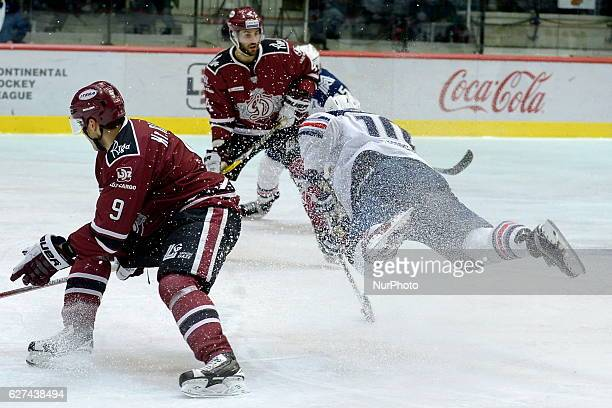 Top scorer of KHL 9th season Sergey Mazyakin of Metallurg Magnitogorsk providing flying attack during the game between Dinamo Riga and Metallurg...