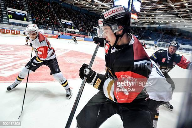 Top Scorers, Sebastian Aho of Karpat Oulu and Jussi Makkonen of Espoo Blues during the Champions Hockey League quarter final between Karpat Oulu and...