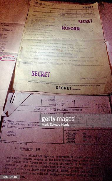 Top Secret documents seized on the captured USS Pueblo are displayed on the ship anchored in Pyongyang's Taedong River
