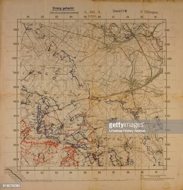 Top Secret World War I Map of Northeastern France near German Border Showing German Military Positions January 1 1918