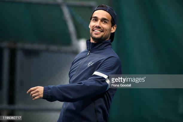 Top seed Fabio Fognini of Italy checks the weather as rain delays the start of his double match during day two of the 2020 Men's ASB Classic at ASB...