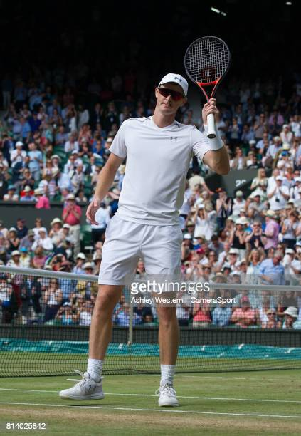 Top seeds Jamie Murray celebrate their victory against Ken Skupski and Jocelyn Rae at Wimbledon on July 13 2017 in London England