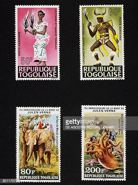 Top series of postage stamps honouring the Costumes and dances of Togo 1966 bottom from left series of postage stamps commemorating the 75th...