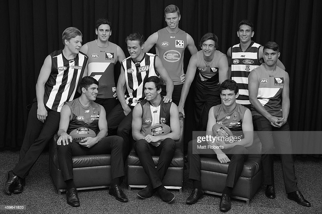 Top ten drafted players pose for a photo during the 2014 AFL Draft at the Gold Coast Convention Centre on November 27, 2014 on the Gold Coast, Australia.