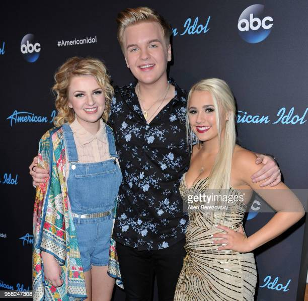 Top three contestants Maddie Poppe Caleb Lee Hutchinson and Gabby Barrett arrive at ABC's American Idol show on May 13 2018 in Los Angeles California