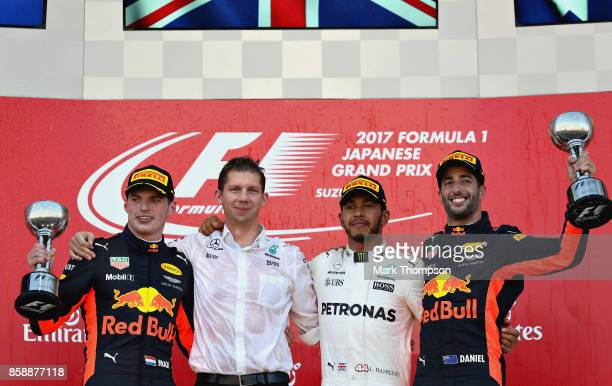 Top three finisher Lewis Hamilton of Great Britain and Mercedes GP Max Verstappen of Netherlands and Red Bull Racing and Daniel Ricciardo of...