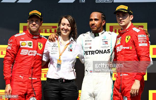 Top three finishers Lewis Hamilton of Great Britain and Mercedes GP Sebastian Vettel of Germany and Ferrari and Charles Leclerc of Monaco and Ferrari...