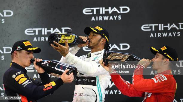 Top three finishers Lewis Hamilton of Great Britain and Mercedes GP, Max Verstappen of Netherlands and Red Bull Racing and Charles Leclerc of Monaco...