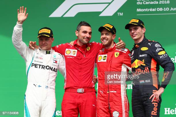 Top three finishers Sebastian Vettel of Germany and Ferrari Valtteri Bottas of Finland and Mercedes GP and Max Verstappen of Netherlands and Red Bull...