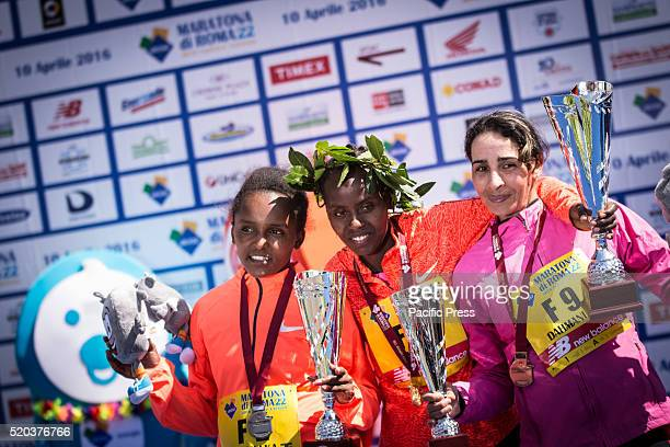 Top three in the Women's Rome Marathon 2016 during awarding of Rome Marathon 2016 The winners of the marathon in Rome 2016 Kenyan Amos Kipruto was...